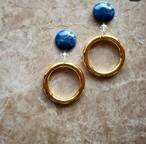 navy marble × aurora × gold big ring 《再販なし》