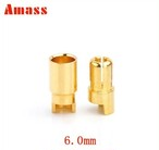 オス・メス3セットAmass正規品 6.0mm金メッキ銅 バナナコネクター Banana Plug AM-1006A