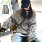 【シンプルな着こなしに欠かせないおしゃれアイテム★ボーダー柄ニットセーター】ラウンドネックゆったりニットセーター