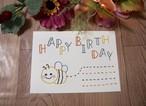 ハチの紙刺繍バースデーカード