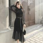 【dress】優雅な印象ランタンスリーブフィッシュテールワンピース 23035396
