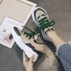 【shoes】カジュアル丸トゥ大人気PU切り替えし厚底スニーカー15003873