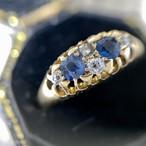 イギリス1906年製アンティークドレスリングK18 指輪 サファイア ダイヤモンド