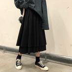 【送料無料】 ふわかわシルエット♡ レトロ シック フリル フレア スカート ロング丈