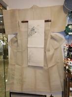 赤城生紬麻着物(未使用) linen Kimono