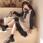 セットアップ ワンピース チェック ミディアム丈 ケーブルニット ベスト 韓国ファッション オルチャンファッション
