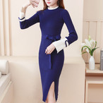 【dress】美しいシルエット今季らしいスリットワンピース25001636