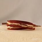 正絹 鳥の羽のような帯締め 蘇芳褐
