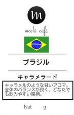 自家焙煎珈琲 ブラジル キャラメラード100g オススメ!