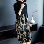 【dress】厚ニットワンピースプリントゆったりレディースワンピース