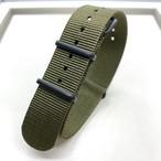 NATOタイプ ナイロンストラップ ブラック金具 オリーブ 20mm 腕時計ベルト