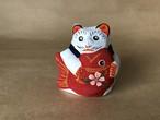 #tohokuru 花巻人形工房|花巻人形「鯛抱き猫」