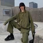 【set】[単品注文]ファッション無地シャツ+カジュアルパンツセットアップ22595404