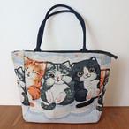 【猫柄】ゴブラン織ショルダートートバッグ(ホワイト)【96371】