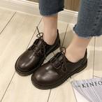 【shoes】PU無地厚底丸トゥレトロファッションフラットシューズ