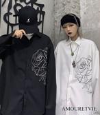 シャツ レディース メンズ ユニセックス 白 ホワイト 黒 ブラック 長袖 ワンポイント スタイリッシュ オルチャン 韓国ファッション 1123