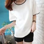 【tops】カジュアル切り替え簡約・シンプル丸ネック2色半袖Tシャツ