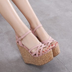 【shoes】落ち着いた感じ雰囲気抜群スウィートウェッジソールサンダル