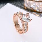 IPARAM CZ 石リング ジュエリー バゲファムファッション ローズゴールドカラー リーフ クリスタル 結婚指輪 女性 ジュエリー ギフト SKU-IPA-815