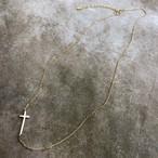 シルバー925 K16 ゴールドコーティング クロスネックレス(M)