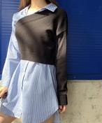 エンフォルドレイヤードニットシャツワンピース ニット ワンピース  韓国ファッション