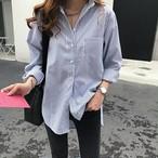 ストライプ シャツ ブラウス ボタン 長袖 オフィス レディース トップス 大きいサイズ ゆったり ブルー