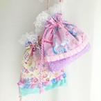 レース付き巾着袋pink