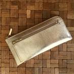薄くて軽くて大容量な長財布 14ZipWallet 牛革 シャンパンゴールド Squeeze 日本製