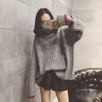 【tops】簡約・シンプル配色長袖ドルマンスリーブセーター15181817