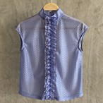20SS Center frill frame blouse〈blue,blown〉