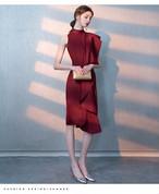 優雅な気分になれる♥ドレープが美しい膝丈ノースリーブドレス