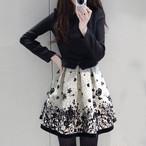 【dress】 デートワンピースフェイクレーヤード切り替え花柄プリントAライン