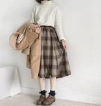 【送料無料】秋冬に♡ チェック柄 ロングシフォンスカート