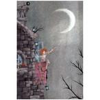 『月の糸  星のビーズ』 月を紡いで星をビーズに仕立てる女の子 神秘的でちょっとおしゃれなイラスト ポストカード