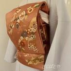 正絹 赤朽葉色に吉祥文様の刺繡の袋帯