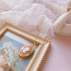 Pink Cameo Antique Frame Necklace