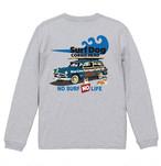 No.2020-welshcorgi-longts2-004 :5.6オンス ロングスリーブ Tシャツ(1.6インチリブ)  サーフシリーズ コーギーのSURF DOG NO SURF NO LIFE