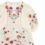 Flower embroidery tunic one-piece
