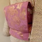 正絹 桃花色に金糸の唐花の袋帯