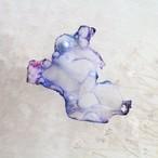 ブルーホワイト|染めオーガンジーの片耳アートピアス