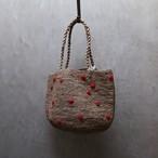 NORO /ノロ Madrague Petit Pois 赤いドットのラフィアバック Tea / Rouge M