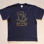 にゃんきーとすTシャツ「ねこがいてよかった」ネイビー×イエロー