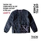 [ 送料無料!! ]【レディース】TAION-105 CREW NECK W-ZIP DOWN JACKET < ブラック >
