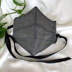 ダンガリー立体プリーツマスク  ブラック