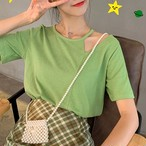 【tops】韓国系切り替え透かし彫りラウンドネック無地Tシャツ