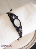 水晶 アシンメトリー マクラメ編みブレスレット