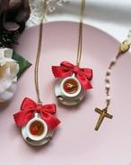 NEW!薔薇とスミレを浮かべた紅茶のネックレス