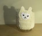 アルパカ40%配合 手編みのマグコージー(白・こげ茶)