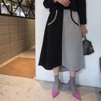 バイカラーフレアスカート(ブラック×グレー)