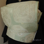 正絹 グリーンアップル色の袋帯